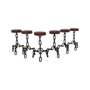 Vintage Brutalist Metal Anchor Chain Barstools, 1970s