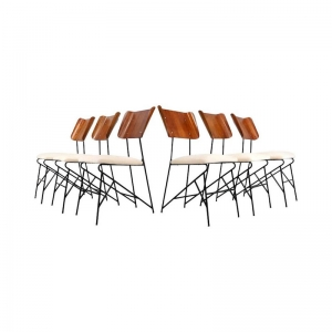1950s Italian Dining Chairs by Carlo Ratti for Legni Curva, set of 6