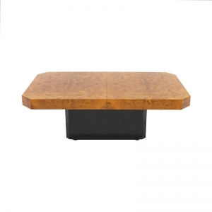 1970s burl wood coffee table with liquor storage in the style of Willy Rizzo