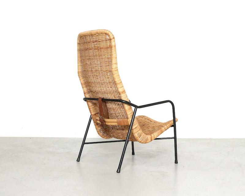 1950s Dirk Van Sliedregt Rattan Easy Chair Model 514A