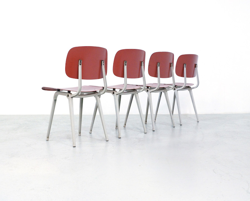 Red Friso Kramer Revolt Dining Chairs, set of 4
