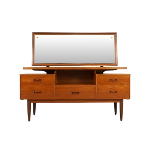 Teak Vanity or Dressing Table with Mirror, 1960s