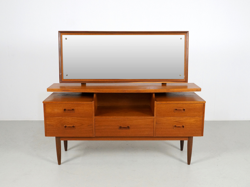 Vintage Teak Vanity or Dressing Table with Mirror