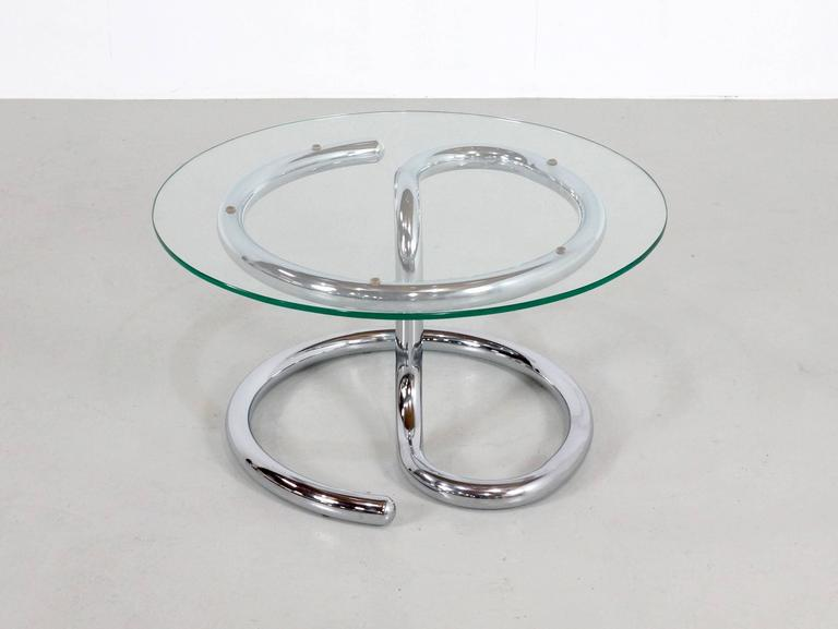 1970s Paul Tuttle Anaconda Coffee Table in Glass and Chrome