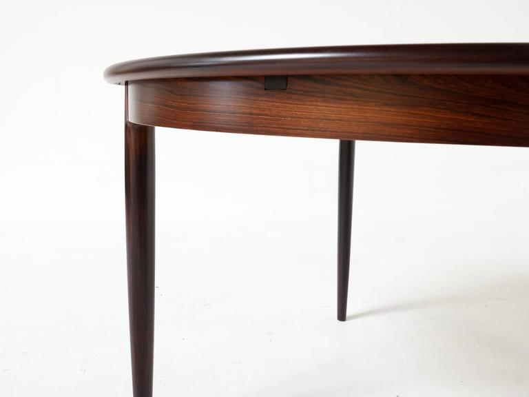 Round Extendable Dining Table by Niels Otto Møller in Rosewood