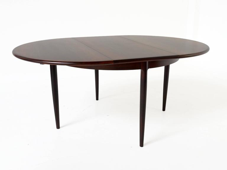 Round Extendable Rosewood Dining Table by Niels Otto Møller