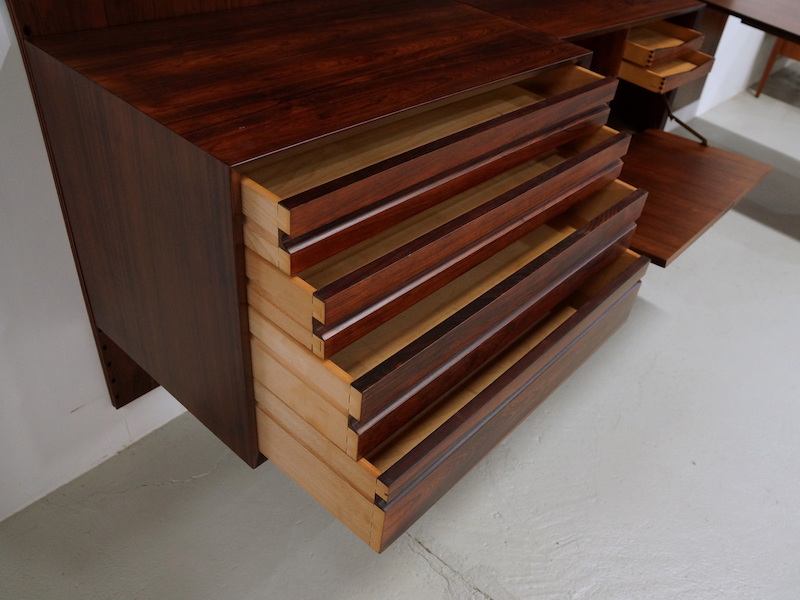 1950s Modular Wall Unit by Poul Cadovius for Cado in Rosewood