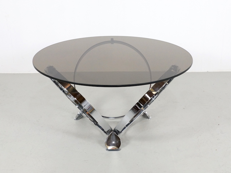 1970s Coffee Table by Knut Hersterberg in Chrome and Glass