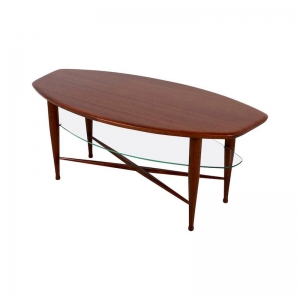 Teak Coffee Table with Glass Magazine Shelf