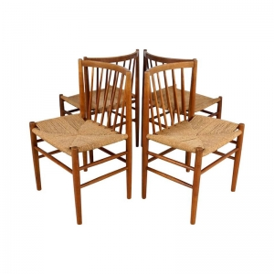 1950s Danish Dining Chairs by Jørgen Bækmark for FDB Møbler