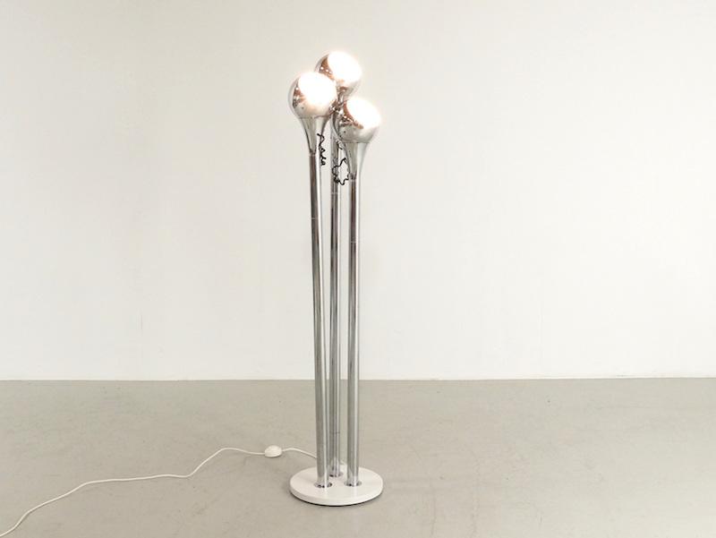 1970s Goffredo Reggiani Floor Lamp with Three Chrome Spots
