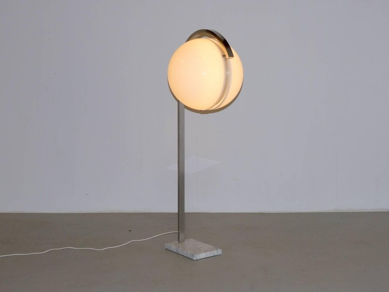 Italian Globe Floor Lamp on Carrera Marble Base