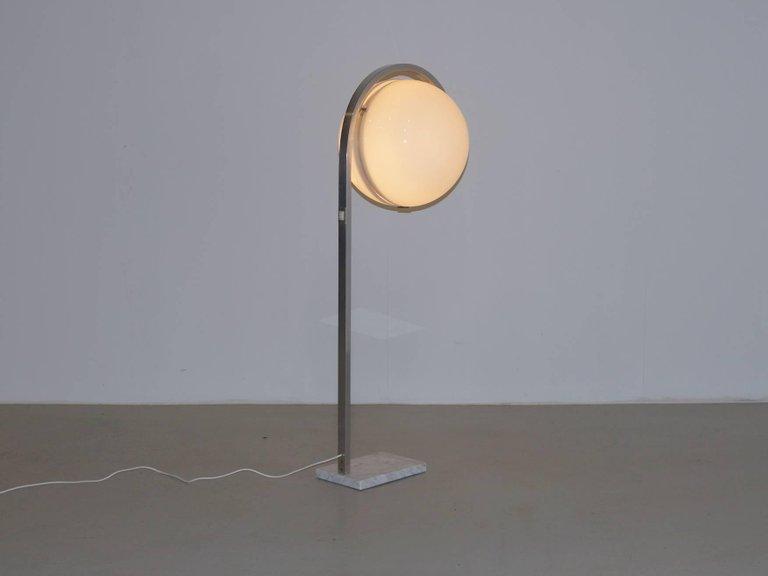 Italian Globe Floor Lamp on Carrera Marble Base