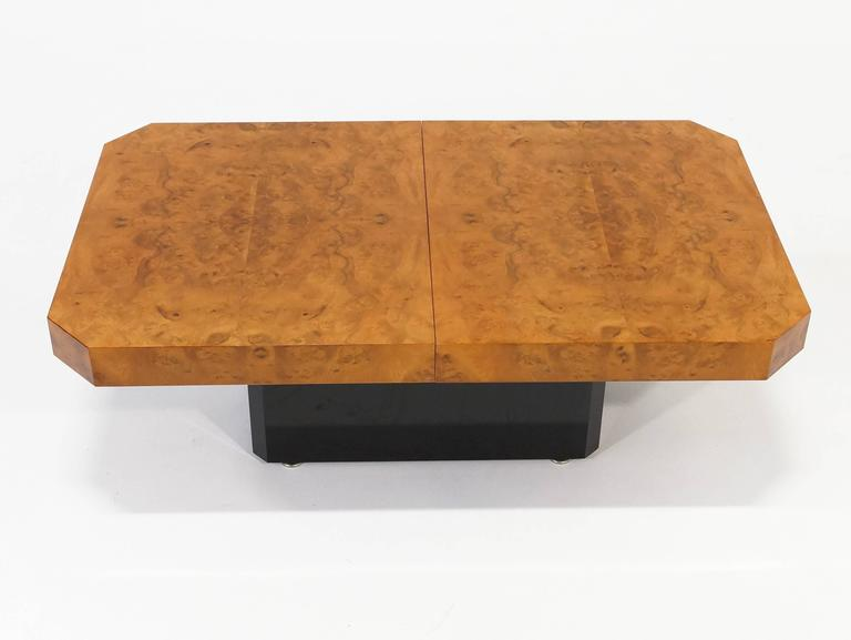 1970s Burl Wood Coffee Table with Liquor Storage