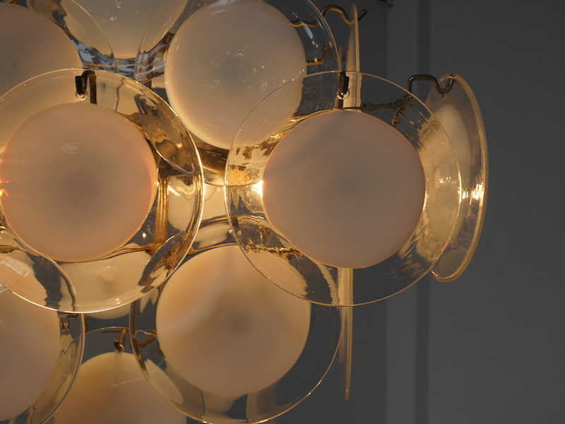 1970s Murano Glass Disc Chandelier by Vistosi