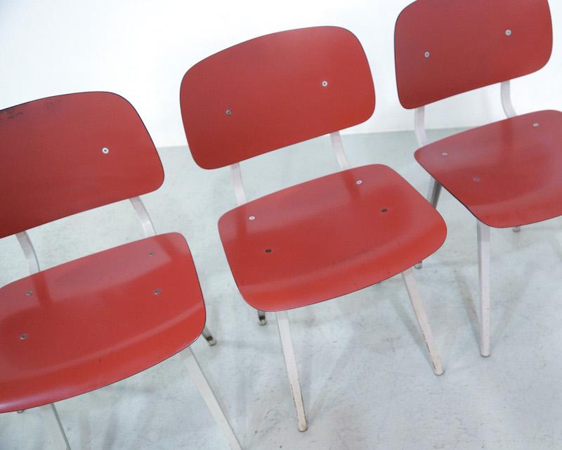 Red Friso Kramer Revolt Dining Chairs, set of 4