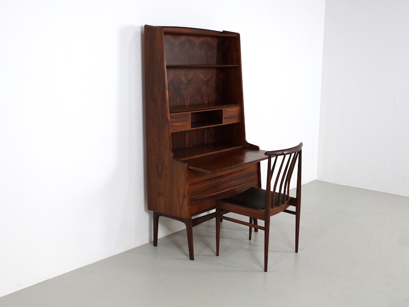 1960s Danish Rosewood Secretary Desk with Pull Out Surface
