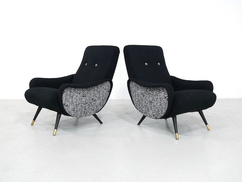1950s vintage lounge chairs, set of 2