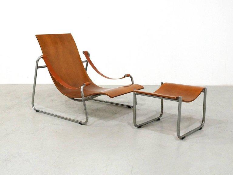 Plywood Lounge Chair and Ottoman 1950s Tubular Nickel Frame