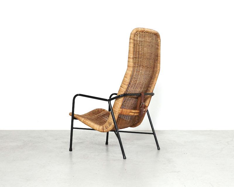Vintage Rattan Easy Chair Model 514A by Dirk Van Sliedregt