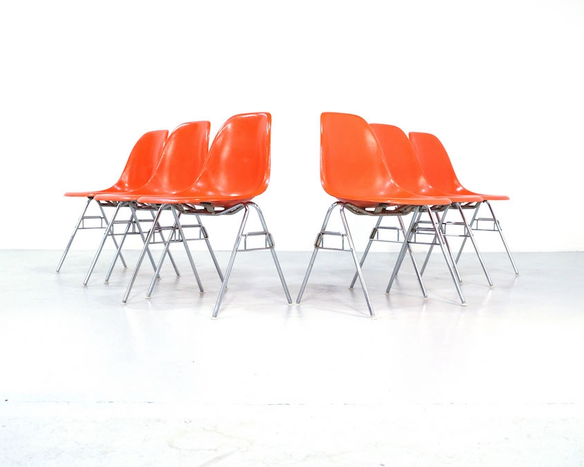 Orange Eames Side Chairs for Herman Miller