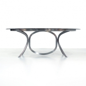 Vintage Space Age dining table with smoked glass top