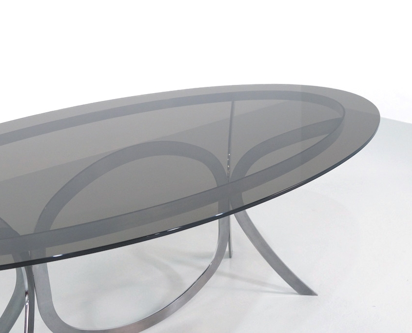 Vintage Space Age Stainless Steel Dining Table with a Smoked Glass Top