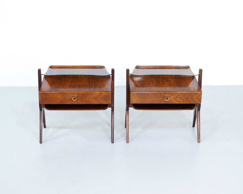 Pair 1950s Italian Night Stands attributed to Vittorio Dassi.