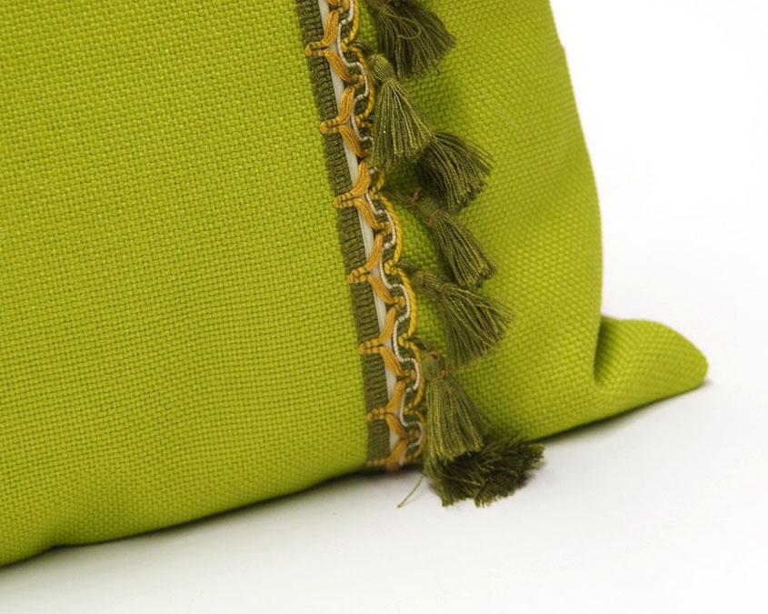 Green Pillow with Vintage Fringe Trim Handmade by EllaOsix