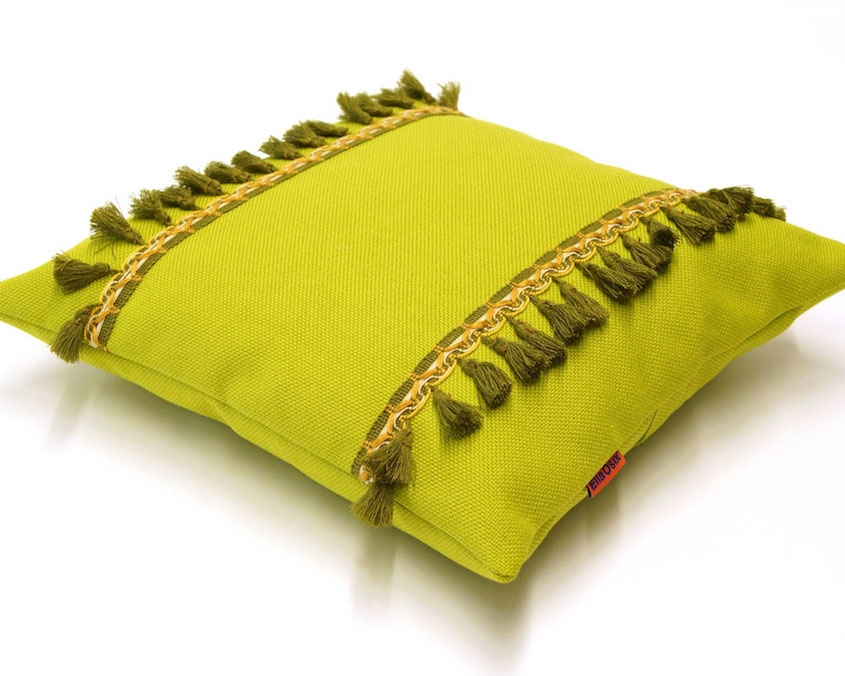 Green Pillow with ViGreen Pillow with Vintage Fringe Trim Handmade by EllaOsixntage Fringe Trim Handmade by EllaOsix