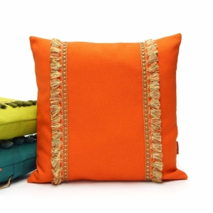Orange Fringe Pillow by EllaOsix