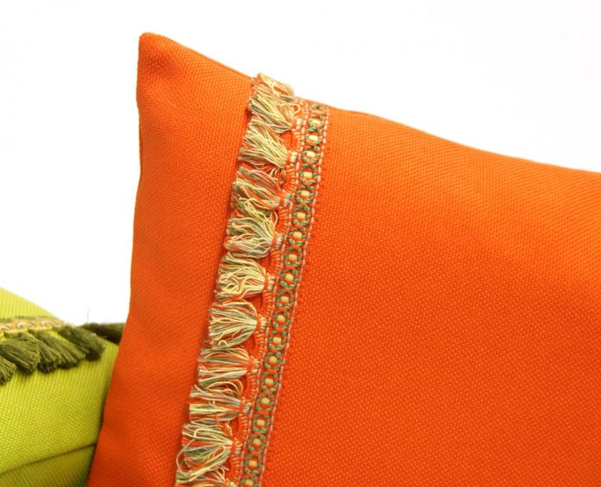 Orange Fringe Pillow by EllaOsix