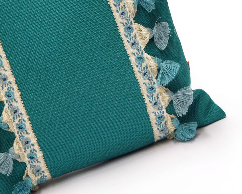 Teal Pillow with Vintage Fringe Trim Handmade by EllaOsix