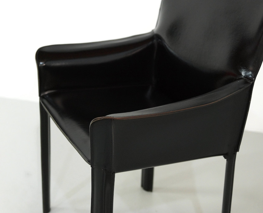 1980s Black Leather Armchair by De Couro of Brazil