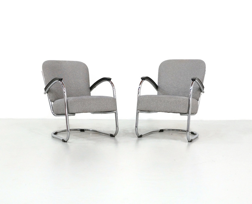 Pair 1930s Tubular Lounge Chairs by Paul Schuitema
