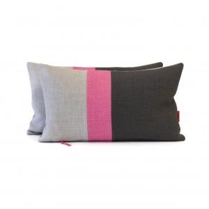 EllaOsix ~ Colour Block Cushions in Gray and Pink