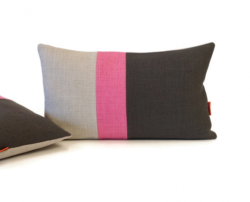 EllaOsix ~ Colour Block Cushions in Gray and Pink