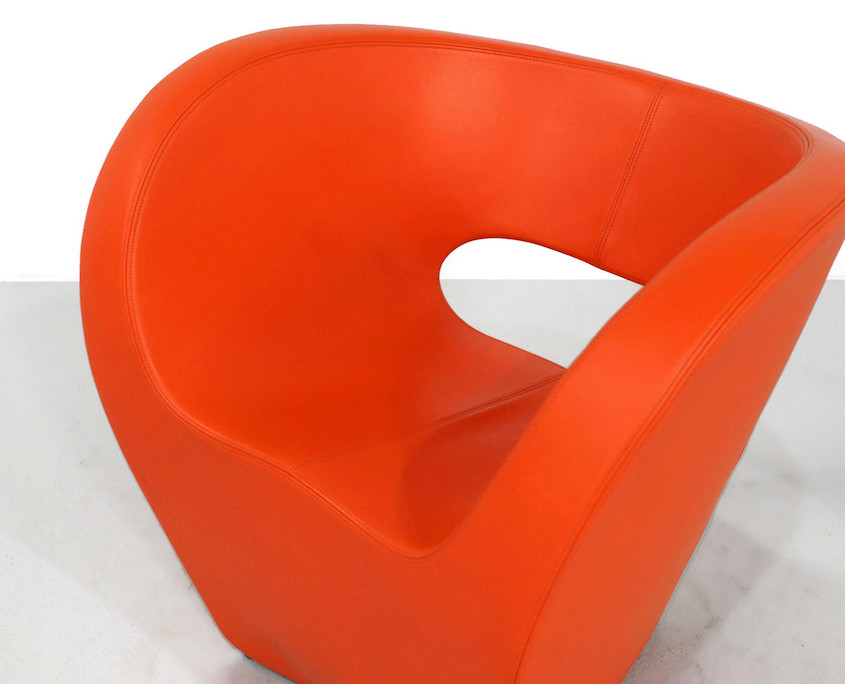 Kameleon Design ~ Vintage Moroso Victoria & Albert Chairs by Ron Arad in orange Leather