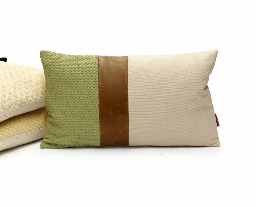 Lumbar Pillow Cover with a Leather Accent Handmade by EllaOsix