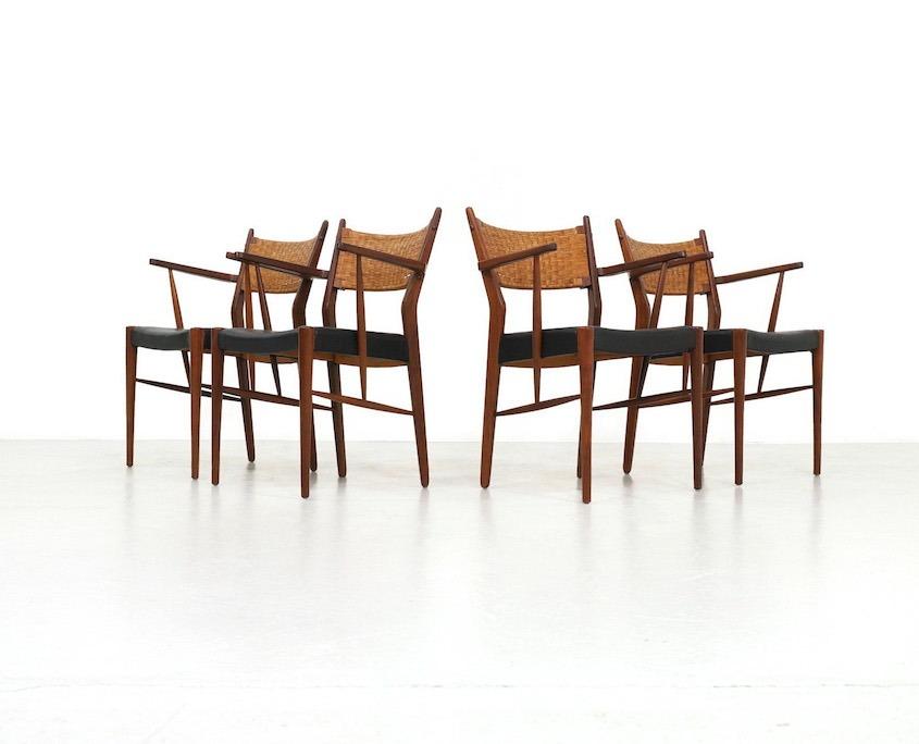 Mid Century Teak Dining Chair With Woven Cane Backrest Kameleon Design