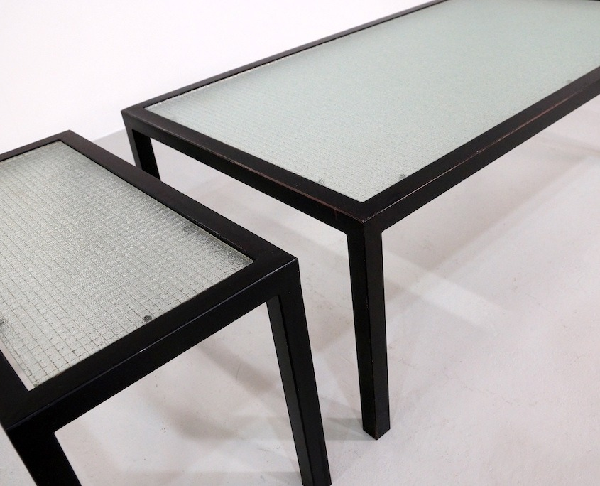 Kameleon Design | Vintage Metal Coffee Tables with Wire Glass top
