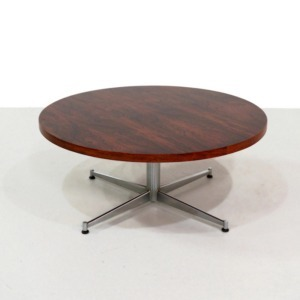 Round Mid Century Rosewood Coffee Table