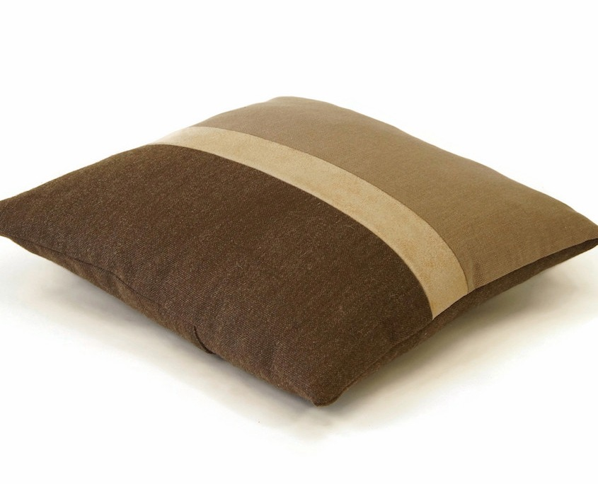 brown color block pillow with a leather stripe by EllaOsix