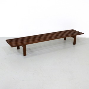 Mid Century Slatted Bench