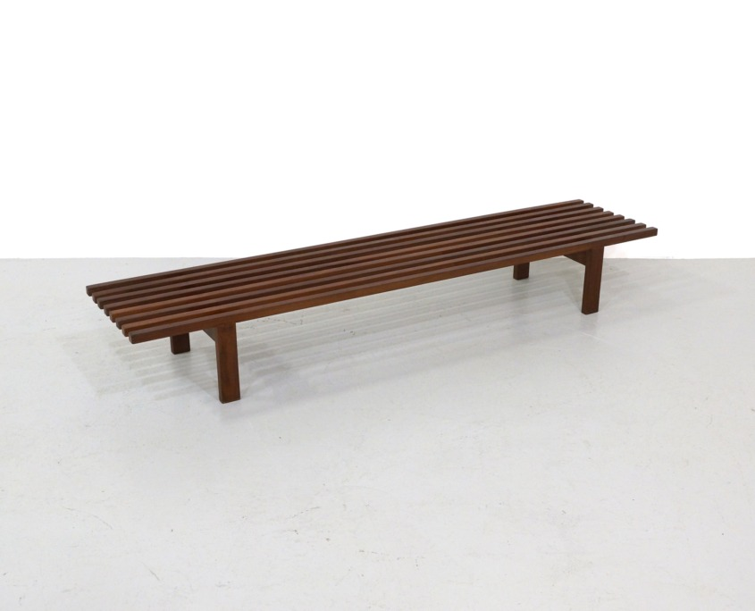 Mid Century Slatted Bench