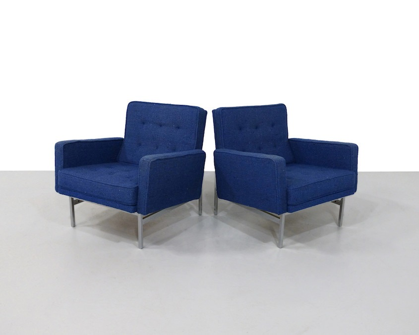 Pair Vintage Florence Knoll Slipper Chairs