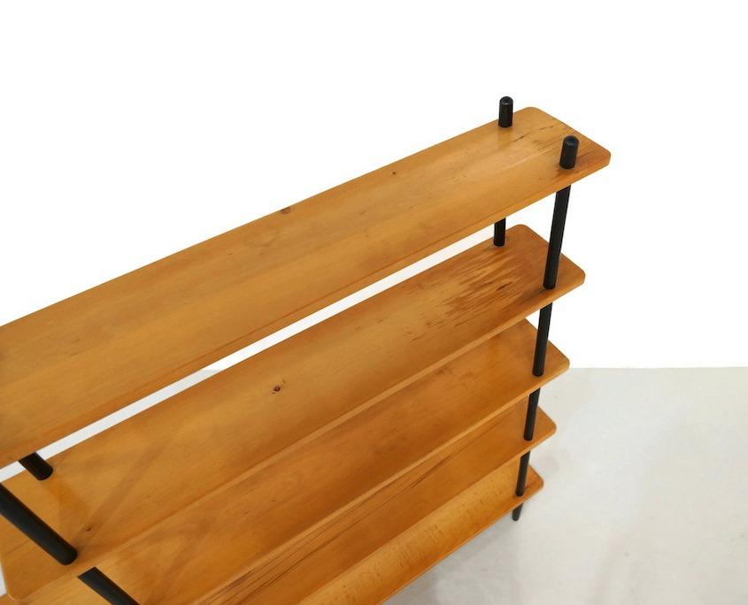 Vintage Wood Stick Shelving Cabinet