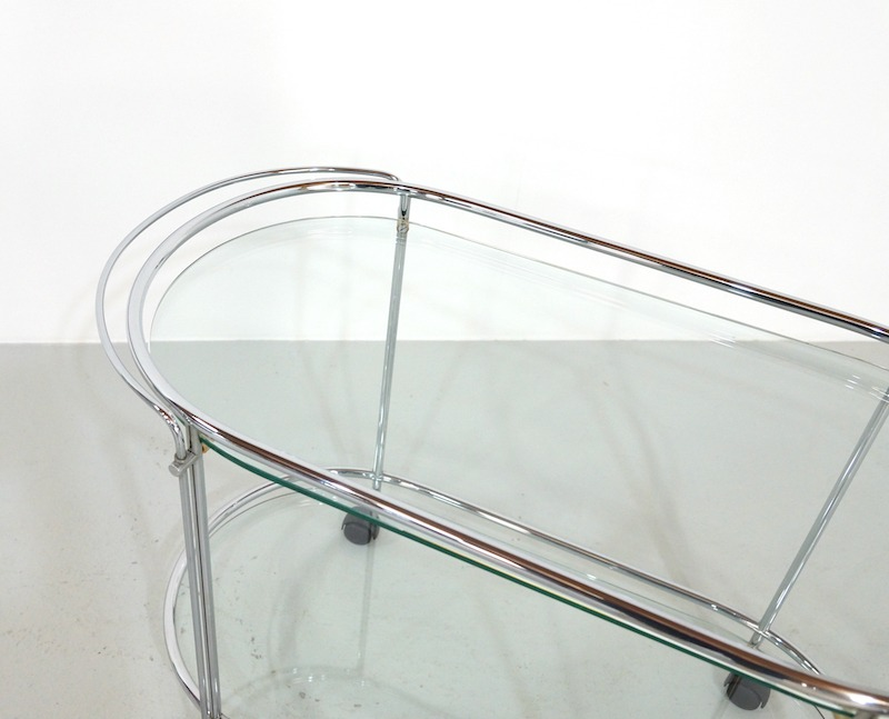 Mid Century Serving Trolly or Bar Cart in Chrome and Glass