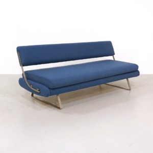 Reupholstered Mid-Century Daybed Sofa on a Nickel Base