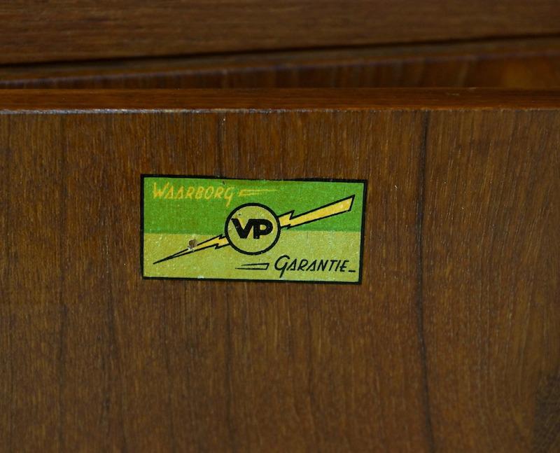 Vintage Teak Storage Cabinet with a Blue Coloured Sliding door.
